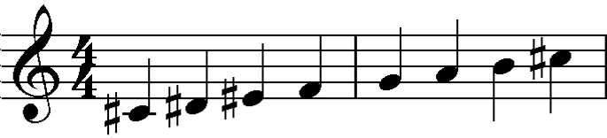 Whole tone scale from C#