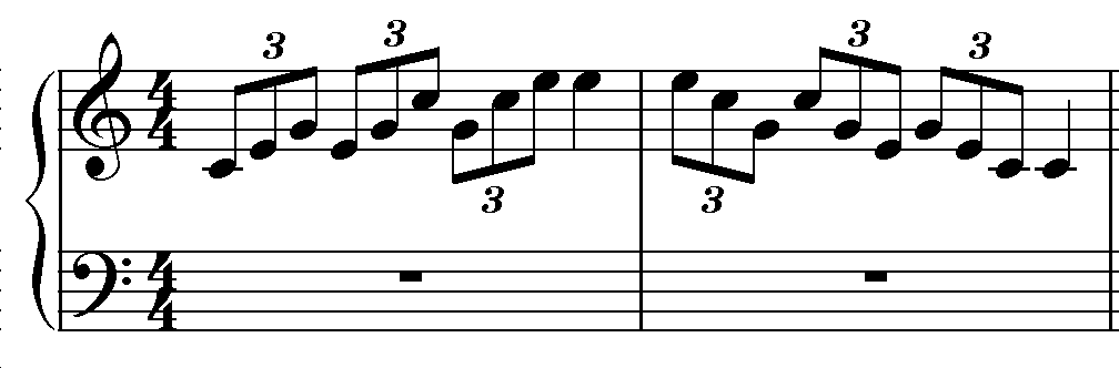 Broken chords in triplets