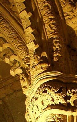 Mysterious carvings in Rosslyn Chapel in Scotland.